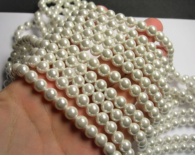 Pearl - 8 mm round - lustruous white Pearl - full strand  49 beads - Shell pearl - SPT2