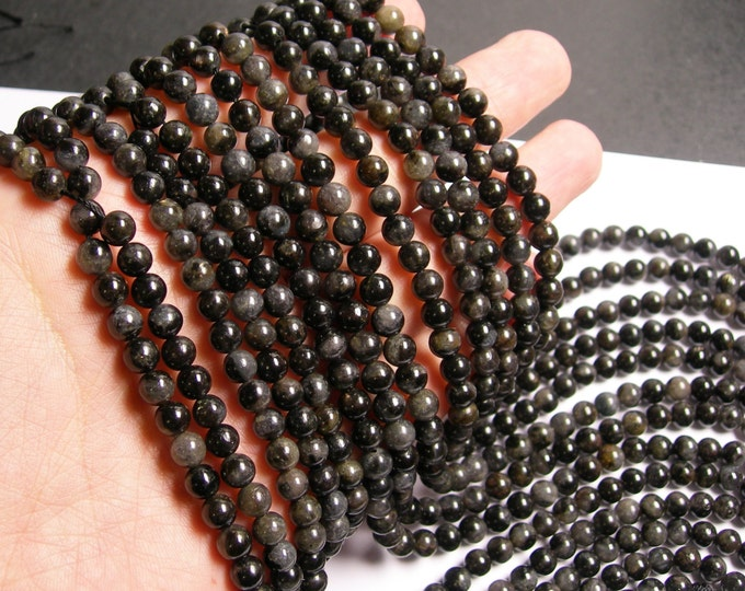 Arfvedsonite - 6mm round - A quality - 66 beads per strand -  1 full strand - RFG707