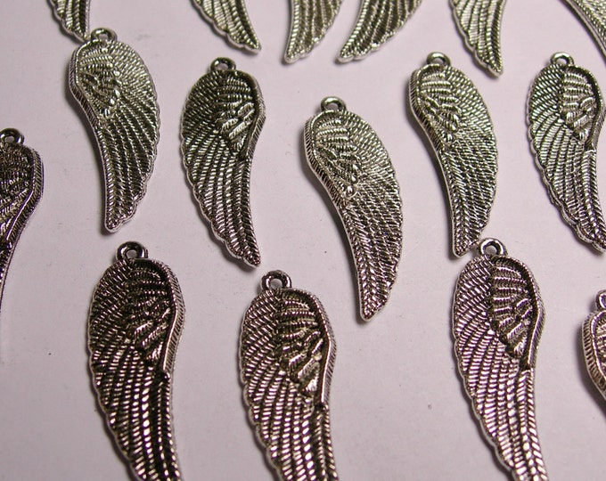 Angel wings Silver color charms beads hypoallergenic 16 pcs - NAz 14