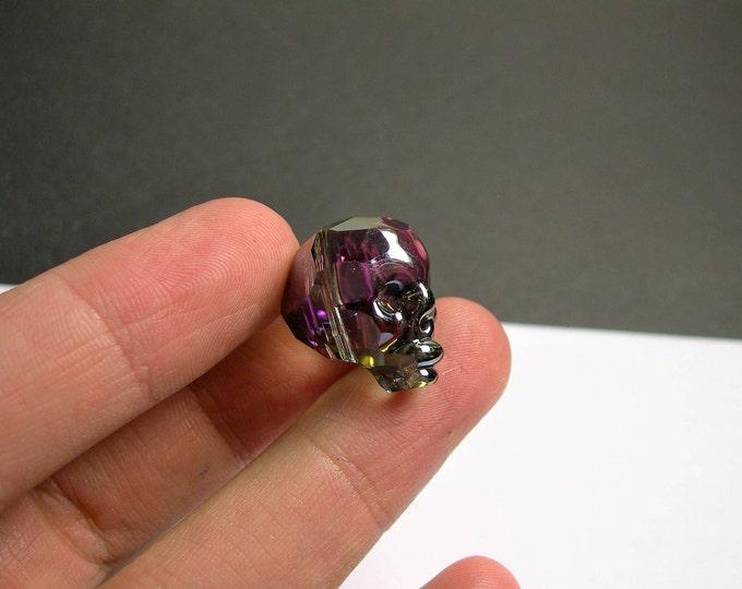 Crystal faceted skull - 1  pcs - 20mm -Mystic dark rainbow Ab - SFB3
