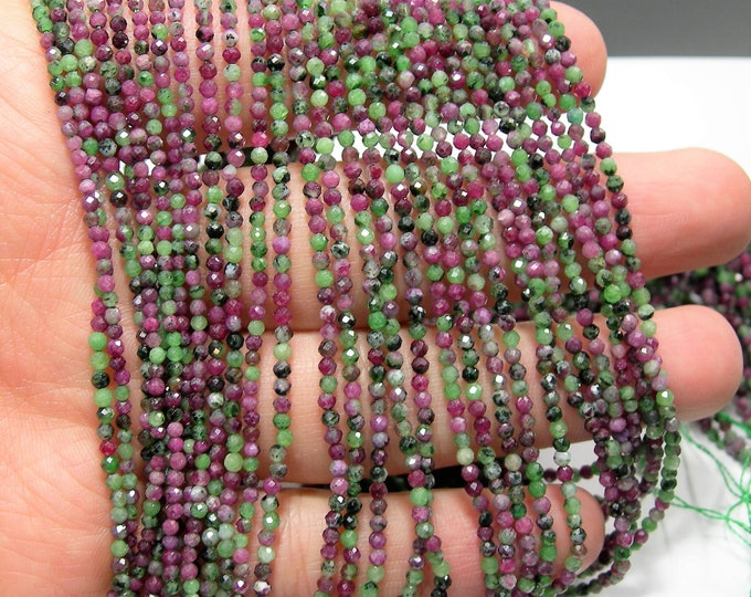 Ruby Zoisite - 2mm Micro Faceted round beads -  full strand - 187 beads - Ruby Zoisite - Micro Faceted - A Quality - PG223