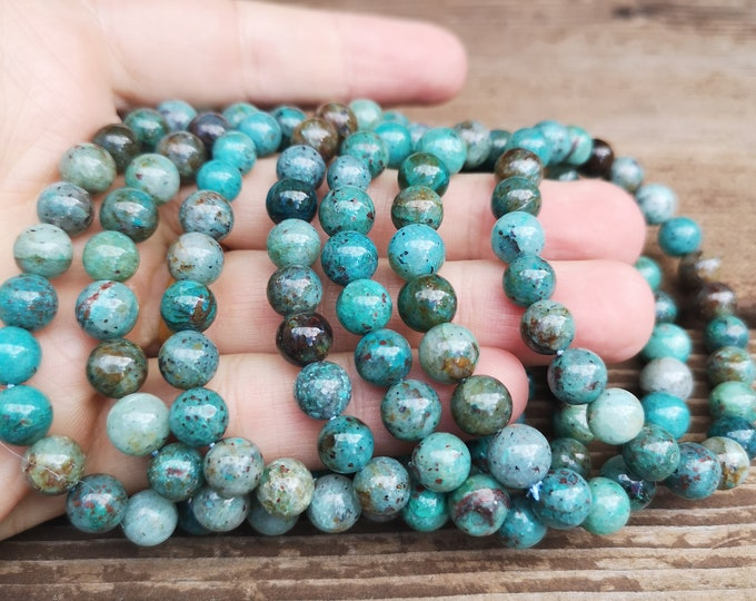 Chrysocolla - 8mm round beads - 23 beads - 1 set  - Natural Chrysocolla in quartz - HSG253