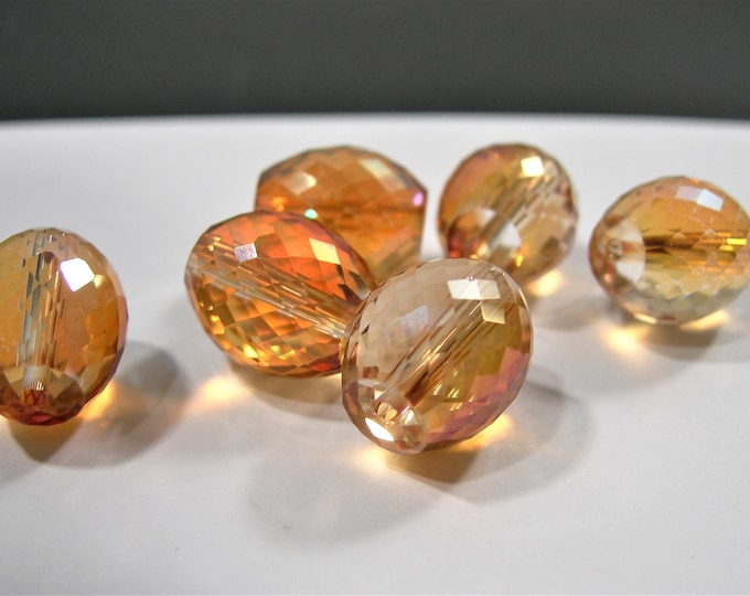 Crystal faceted  barrel - 6 pcs - 13mm x11mm - AA quality - golden raibow ab topaz - BCR17
