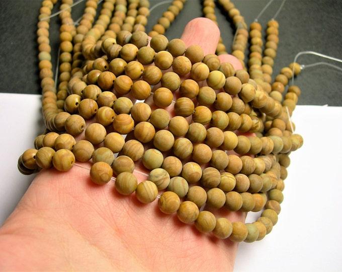 Wood Jasper matte  - 8 mm round beads -1 full strand - 49 beads - RFG199