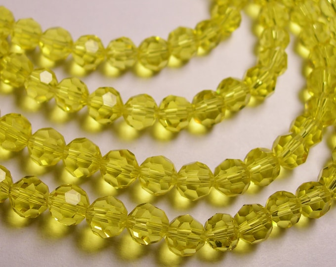 Crystal - round faceted 6mm beads - 72 beads - AA quality - Lemon quartz color - Full strand