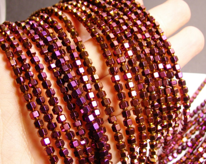 Hematite purple - 4 mm faceted hexagon  beads -1 full strand -98 beads - AA quality - PHG39