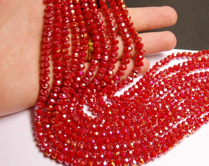 Crystal faceted rondelle - 98 beads -  6 mm - A quality -  sparkle red  - Ab finish -  full strand - DAC33