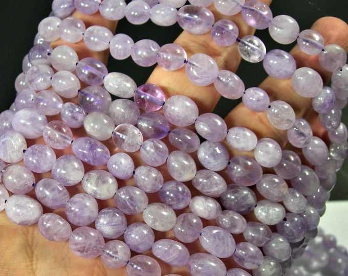 Amethyst - oval rounded nugget beads - full strand - 40 beads - light amethyst - RFG1751