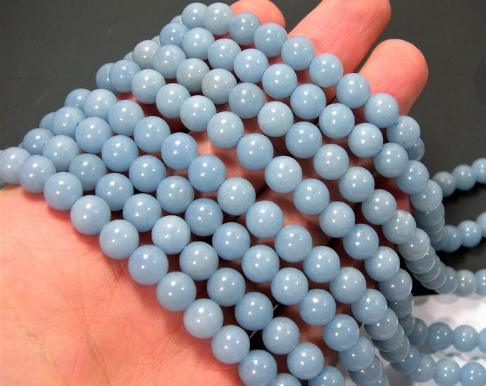 Angelite - 8 mm round beads -1 full strand - 49 beads - A quality - RFG879