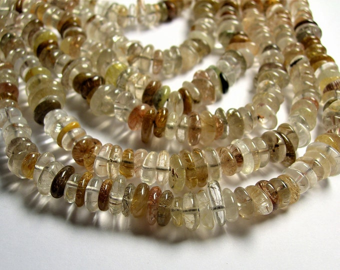 Brown rutilated quartz 10mm - rondelle disc beads - 16 inch strand - 110 beads - Tourmalinated quartz - PSC370