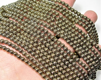 Gold Hematite - 4 mm round beads - full strand - 101 beads - AA quality - WHOLESALE DEAL - RFG1587