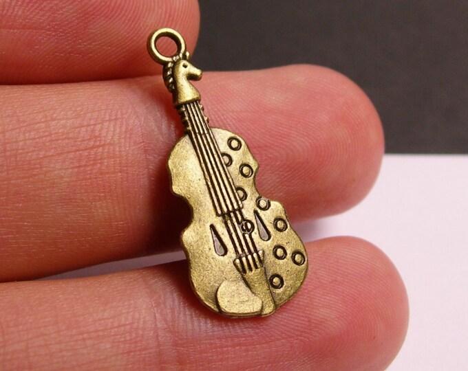 12 violin - 12 pcs  antique bronze brass violin  charms - BAZ74