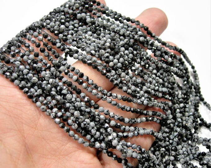 Snowflake obsidian - 2.6mm micro faceted round beads - full strand  - 145 beads - PG266