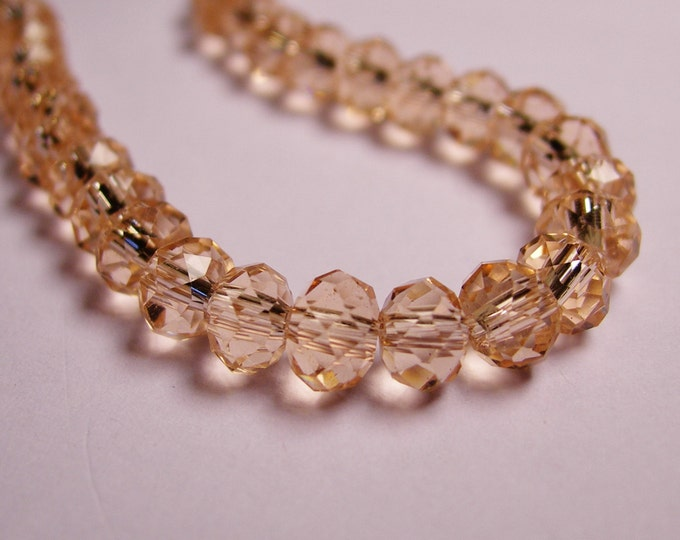 Crystal faceted rondelle - 98 pcs -  6 mm - AA quality - light peach - full strand - CRV111