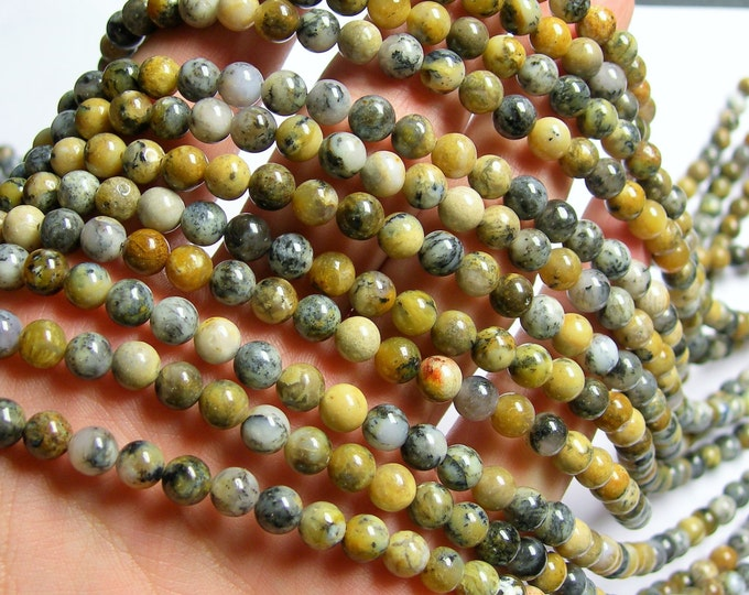 Dendritic moss Opal - 6 mm round beads - full strand - 67 beads - RFG862