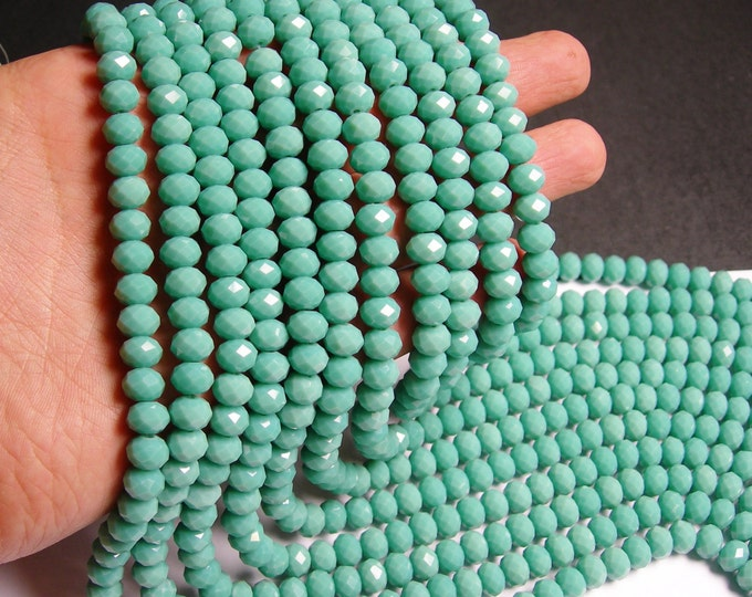 Crystal faceted rondelle - 70 pcs -  8 mm - A quality - full strand - matte - turquoise - GSH30