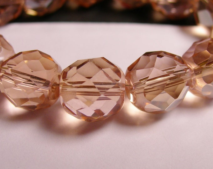 Crystal faceted rounded - 12 pcs - 10 mm - AA quality - peach topaz -  CFHBC17