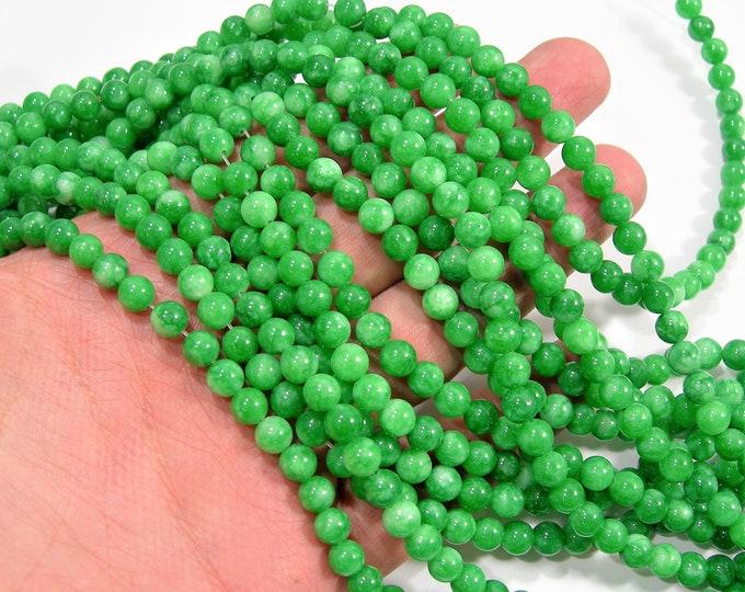 Malaysia Jade - 6 mm round beads - full strand - 61 beads -  green Jade - RFG2004