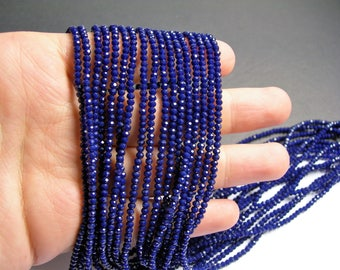 Crystal - rondelle  faceted 3mm x  2mm(2.2mm) beads - 197 beads - AA quality - dark blue - CAA2G156