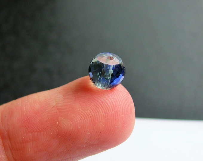 Crystal faceted rondelle barrel - 20 pcs - 8mm x 6mm - AA quality - Mystic blue Ab - BCR1