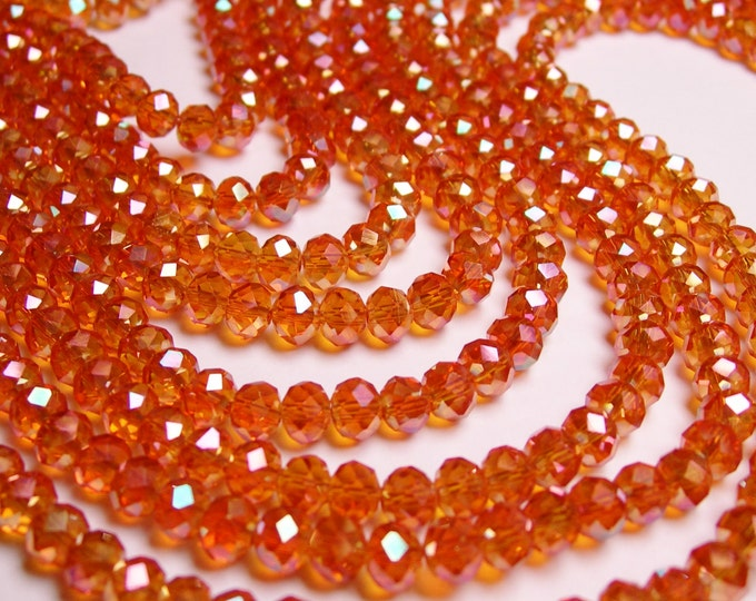 Crystal faceted rondelle - 100 beads - 6 mm - AA quality - sparkle ab tangerine - 19 inch strand - CBFB1