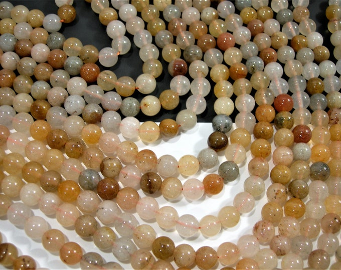 Multi Quartzite - 8mm round  A quality  - 48  beads - full strand - Mix tone natural quartzite - RFG1822