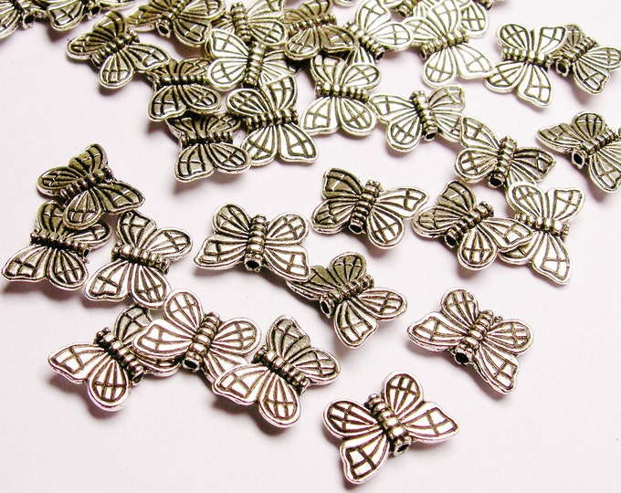 Silver color  beads hypoallergenic- 50 pcs - butterfly silver beads - ZAS38