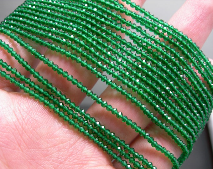 Emerald - 2mm micro faceted round beads -  full strand  16 inch 40 cm - 190 beads - AA Quality - Lab created Emerald - PG136