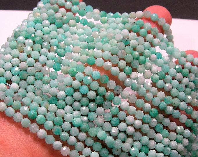 Amazonite - 4mm micro faceted round beads - full strand  - 95 beads - Amazonite gemstone - PG211