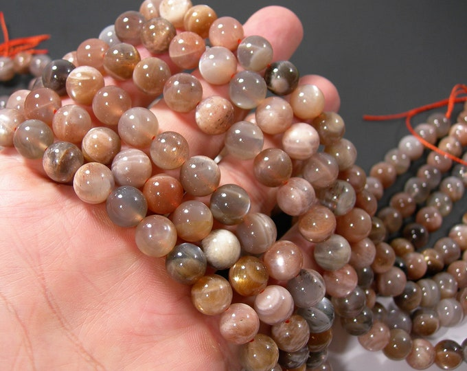Moonstone mix - 10mm  round beads - full strand 38 beads - Golden grey star mix moonstone - RFG2138