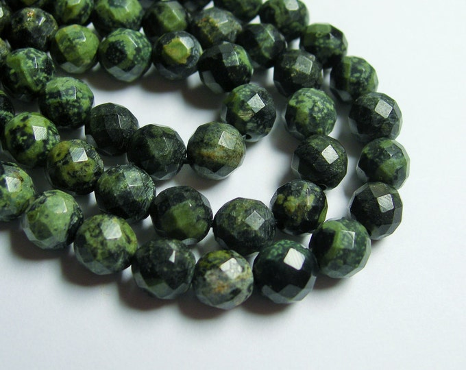 Kambaba jasper - 8mm faceted round - full strand - 49 beads - A quality - RFG417