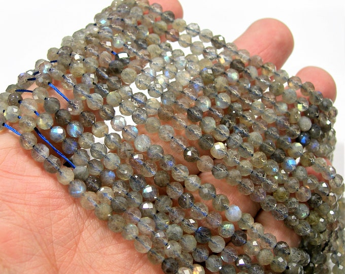 Labradorite - 4mm(4.3mm) faceted round beads - full strand  91 beads - micro faceted labradorite  - PG268