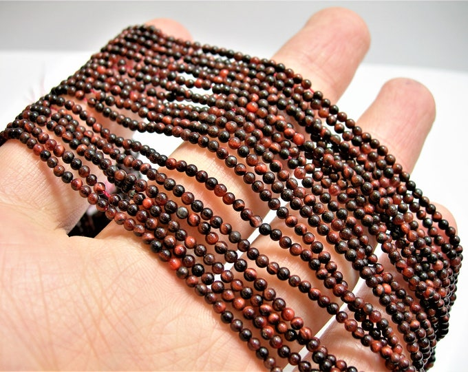 Red Tiger eyes 2 mm round A quality -  180 beads - 1  full strand - PG112