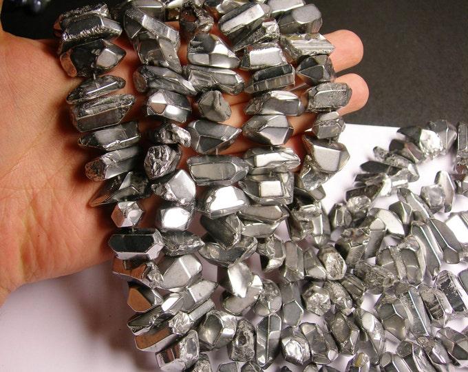 Quartz mystic aura silver points chunk -  middle drilled - Full strand - 35 pcs - PQM9