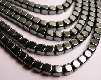 Hematite - 6mm cube square beads - full strand - 66 beads - AA quality - CHG24