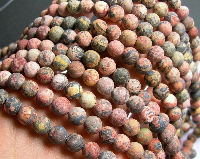 Leopard skin Jasper - 8 mm round beads - matte - full strand - 47 beads - RFG763