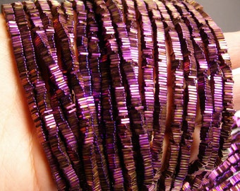 Hematite purple - 4mm x 1mm heishi square slice beads - full strand - 400 beads - A quality - PHG12