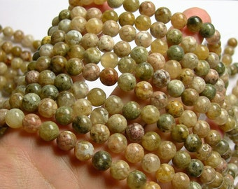 Pink Moss agate - 8 mm round beads - full strand - 49 beads - rare pink moss agate - Wholesale deal - RFG1110