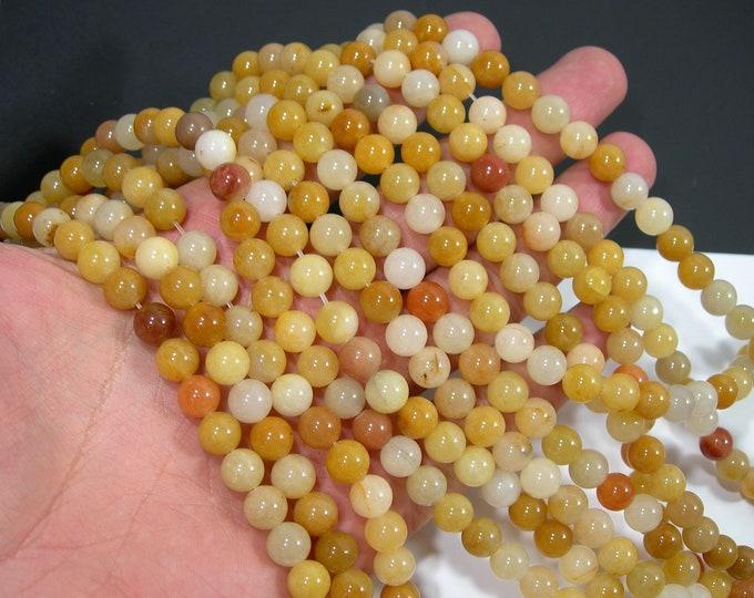 Yellow aventurine  8 mm round beads - full strand  48 beads  - mix tone -  Wholesale Deal -  RFG1689