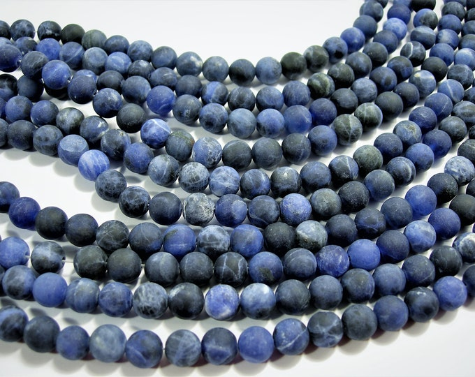 Sodalite matte - 8 mm round beads - full strand - 47 beads - matte sodalite - WHOLESALE DEAL - RFG1581