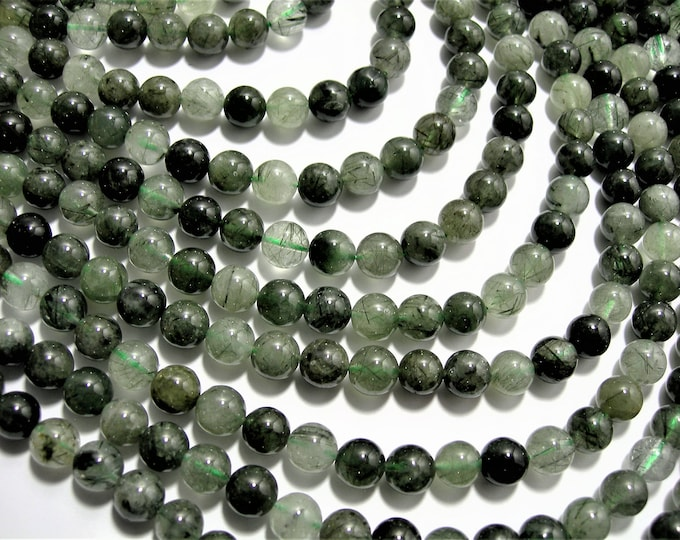 Green Rutile Quartz - 8mm  round beads - full strand 50 beads --  RFG1503
