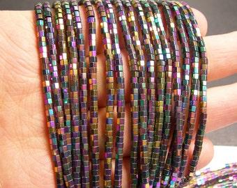 Hematite rainbow - 3mm hexagon  beads -1 full strand - 184 beads - AA quality - 3x2mm - PHG160
