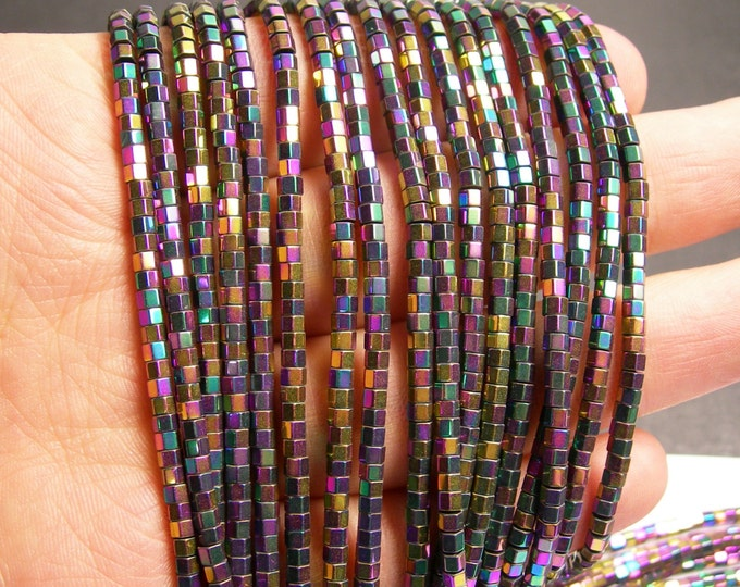 Hematite rainbow - 3mm hexagon  beads -1 full strand - 184 beads - AA quality - 3x2mm - PHG160