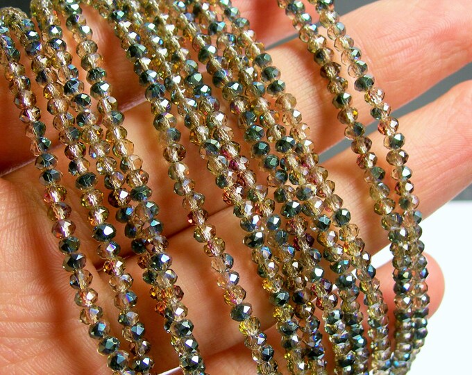 Crystal - rondelle faceted 3.3mm x 2mm - 145 beads - Ab - dark aurora mystic - full strand - AA quality - MAC22