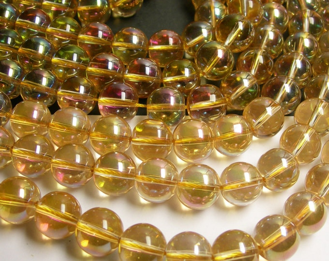 Crystal - round - 14 mm - yellow pink topaz color - ab finish - 30 beads - CRV5