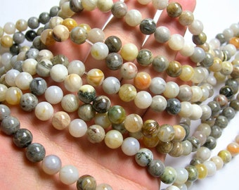 Bamboo Leaf agate - 8mm round beads -1 full strand - 48 beads - A quality - RFG1180