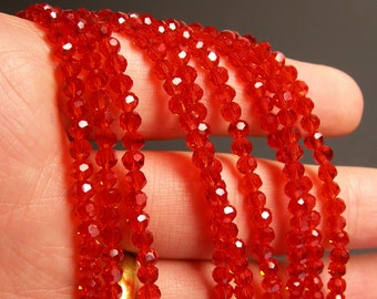 Crystal - round faceted 4mm beads - 98 beads - AA quality - orange cognac color - Full strand