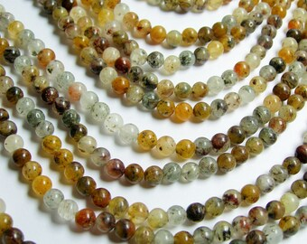 Lodolite quartz - 6 mm round beads - full strand - 66 beads -- RFG301