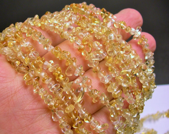 Citrine - pebble chip stone beads  -1 full strand - 36 inch - A quality - 4mm -  PSC29