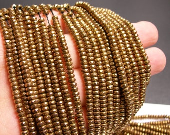 Hematite bronze gold  - 2x4mm faceted rondelle beads - full strand 184 beads - A quality - PHG133